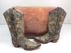 Circle G Corral Boots L5048 brown crackle/bone Leather Cowboy Size 8.5 Western