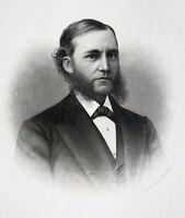 OLIVER H. HORTON Illinois Lawyer & Lumber Businessman - 1876 Portrait Print