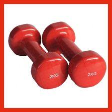 Pair 2 Kg Vinyl Fixed Dumbbell Set Studio Gym Class  Strength Workout Training