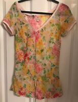 TOMMY JEANS HILLFIGER CHIFFON FLORAL TOP SIZE SMALL 8-10