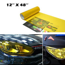 "Gold Yellow Vinyl Film Tint Wrap Sheet 12x48""  For Headlights Fog Lights Lamps"