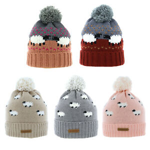 Adults Sheep Pattern Pom Bobble Hat Fully Lined One Size Choice of Colours