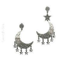 """Orecchini Luxury Fashion modello """"Double Moon"""" luna e stelle - grigio-argento"""