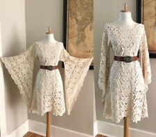 VTG BoHo Beige Cream Crochet Lace Dress Bell Sleeve 70s Hippy MiNi Wedding Dress
