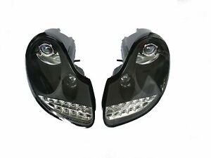 Black LED DRL Projector Headlights pair set For Porsche Boxster 986  996 MK1 LHD