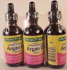 3 Spring Valley Organic Moroccan Argan Oil Serum Hair Skin Nail Sweet Almond
