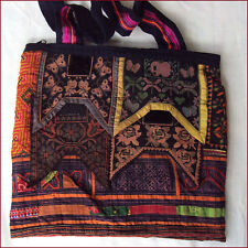 ANTIQUE EMBROIDERED HMONG HILLTRIBE BAG BUTTERFLIES & BEES FLOWERS THAILAND