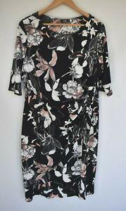 Wallis (UK) black floral ruched dress. Size UK 18