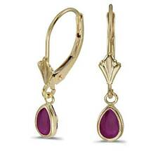 14K .80CTW Natural Genuine Ruby LeverBack Dangle Yellow Gold Earrings