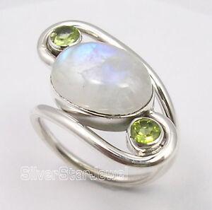 Green Friday Deals 925 Silver MOONSTONE & PERIDOT Ring Any Size 5.7 Grams