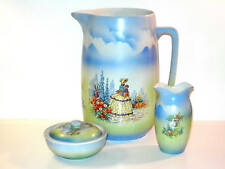 ANTIQUE 1900-1940 ENGLISH SUNBONNET PORCELAIN BLUE PITCHER SET LADY W PARASOL