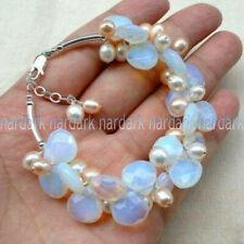 Fine Blue Fire Opal Gemstone & White Freshwater Pearl Cluster Bracelet 7.5'' AAA