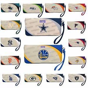 NFL,NBA,MLB Team Curve Zipperd Organizer Women's Wallet