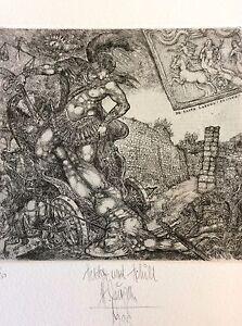 "HARRY JURGENS/ Germany , Ex Libris ,""Hector und Achill"",1999, Limited Ed. 79/100"
