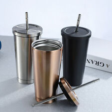 500ml Gradient Cup with Straw Stainless Steel Travel Mug Insulated Drinks Cup