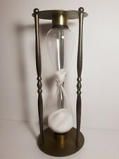 """Vintage Brass Sand Hour Glass w/ Nautical First, Middle & Two Dog Watches 10.5"""""""