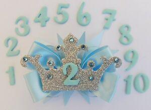 Blue Cinderella Elsa Birthday Crown Age Number Hair Bow Ribbon Alligator Clip