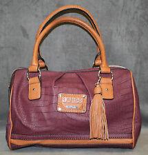 NEW GUESS BURGUNDY HIROKO BOX SATCHEL HANDBAG BAG PURSE