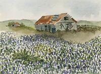 John Billings 5x7 Original Watercolor Painting #4105 Bluebonnets Farm Barn cacti