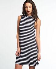 New Womens Superdry Essential Shift Dress Navy/White Stripe
