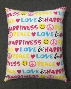 "Beautiful Handmade Emoji Accent - Throw Pillow  10"" x 9"" Peace Love Happiness"