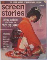 SCREEN STORIES 1962 July SHIRLEY MACLAINE MY GEISHA magazine movie LIZ LEIGH