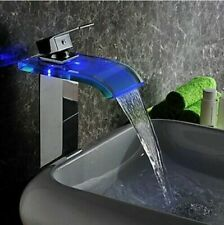 US LED Chrome Tall Bathroom Faucet Waterfall Spout Deck Mounted Basin Mixer Tap