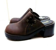 Skechers Brown Leather Slip On Platform Mule Clog Sandal Women's Shoes 8.5M 38,5