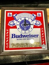 Budweiser Vintage 1986 Pull-Chain Lighted Wall Clock Beer Sign Clydesdales