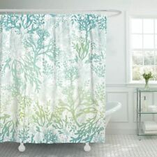 Green Blue Watercolor Leaves White Farmhouse Fabric Shower Curtain + Hooks