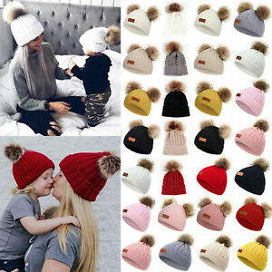 Ladies Baby Toddler Fur Pom Pom Bobble Mom Daughter Family Matching Beanie Hat