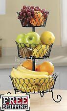 Fruit Basket Holder 3 Tier Kitchen Tray Holder Storage Organizer Stand Wire Rack