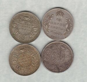 FOUR INDIA 1907 TO 1945 SILVER QUARTER RUPEES IN GOOD FINE OR BETTER CONDITION.