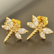 Lovely 9K Yellow Gold Filled clear crystal Ladies Dragonfly Stud Earrings,Z3258