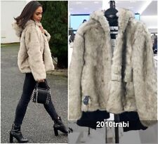 ZARA NATURAL-COLOURED FAUX FUR JACKET COAT WITH HOOD  SIZE M