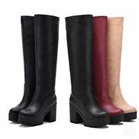 Womens Round Toe Gothic Block Heel Back Zip Riding Punk Mid Calf Knee High Boots