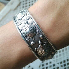 Tibet Silver Plated Carved Longevity Turtle Pattern Bracelet Party Gift FR