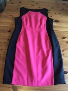 F&F Size 14 Pink Black Shift Dress Sleeveless Back Zip Lined