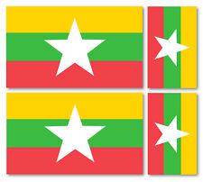 4 X  MYANMAR/BURMESE FLAGS VINYL CAR VAN IPAD LAPTOP STICKER