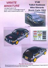 V140 TALBOT SUNBEAM LOTUS MIKE EDWARDS RALLY MOUNTED CARLO 1982 DECALS VIRATE
