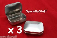 3 NEW BLANK EMPTY MINI CURVED TOP HINGED RECTANGULAR TIN CAN SURVIVAL CRAFTS 1oz