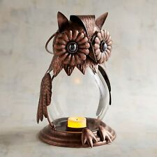 Pier 1 Imports Tealight Candle Owl Jeweled Lantern Brown Metal New
