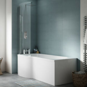 1700mm P Shaped Shower Bath with Screen and Side Panel Right Hand or Left Hand