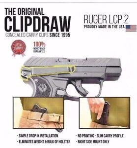 Clipdraw Belt Clip for Ruger LCP 2 II 380 IWB OWB Black - Right Mount - Holster