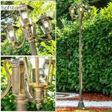 Kandelaber Wege Lampen schwarz Gold Garten Aussen Steh Leuchten Klarglas Laterne