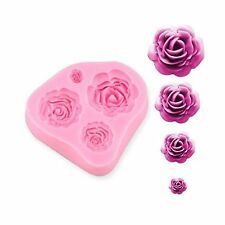 4 Size Roses Flower Silicone Cake Mould Chocolate Sugarcraft De... Free Shipping