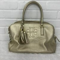Tory Burch Thea Triple Zip Satchel in Light Metallic Gold Pebbled Leather