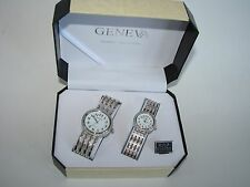 GENEVA SILVER TONE TEXTURED BAND+WHITE DIAL 2,TWO PIECE HIS+HER WATCH SET+BOX