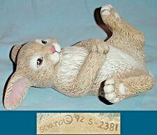 Tan Bunny Rabbit On Back Ceramic Figure Makes You Smile/Scioto Mold '92 S-2381