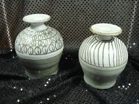 Handmade Signed Art Pottery Stoneware Vases P Miller 1980 1990 Vintage Set of 2
